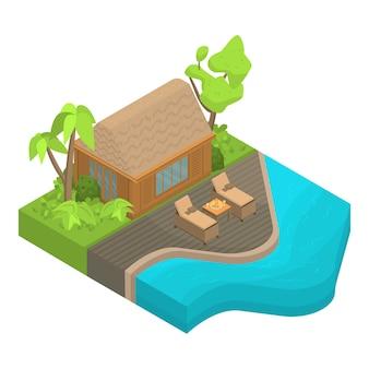 熱帯の島の家のアイコン、アイソメ図スタイル
