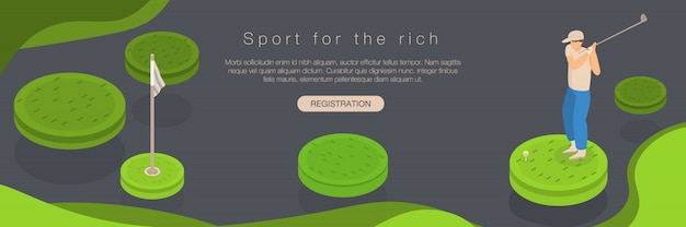 ゴルフスポーツの豊富な概念のバナー、アイソメ図スタイル