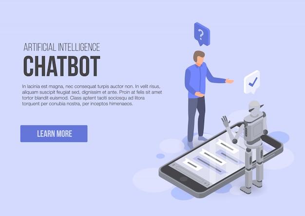人工知能チャットボットコンセプトバナー、アイソメトリックスタイル