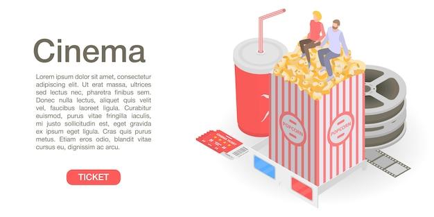 映画館チケット時間概念バナー、アイソメ図スタイル