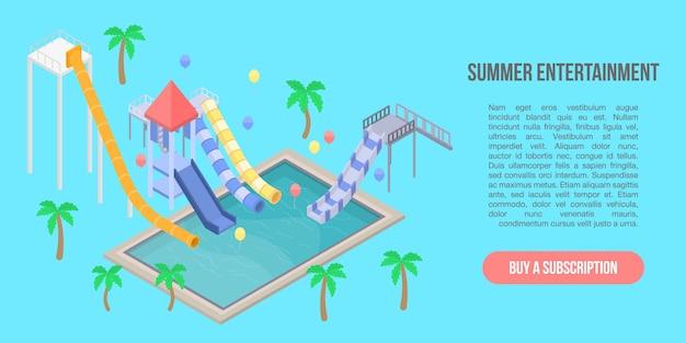 夏のエンターテイメントコンセプトバナー、アイソメ図スタイル