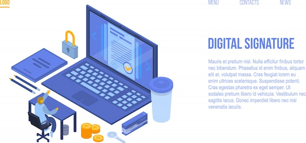 デジタル署名コンセプトバナー、アイソメ図スタイル