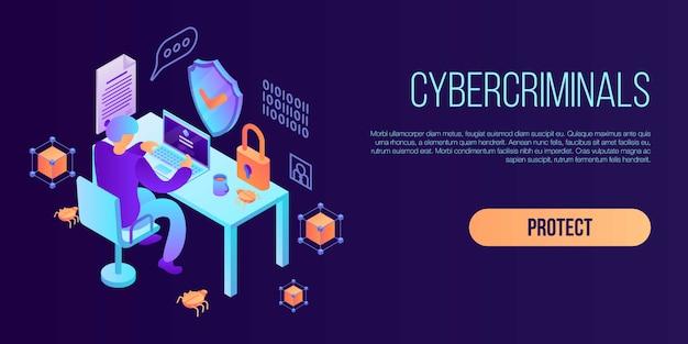 サイバー犯罪者概念バナー、アイソメ図スタイル