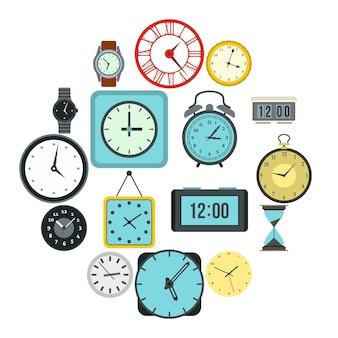 時間と時計のアイコンセット、フラットスタイル