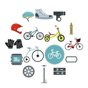 サイクリングのアイコンセット、フラットスタイル