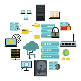 ビッグデータアイコンセット、フラットスタイル