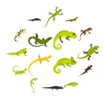 Набор иконок ящерицы, плоский стиль