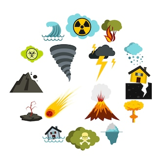 自然災害のアイコンセット、フラットスタイル