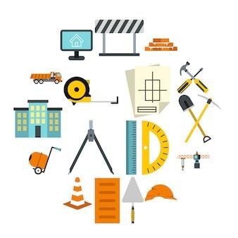 建設アイコンセット、フラットスタイル
