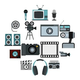 Аудио и видео комплект, плоский стиль