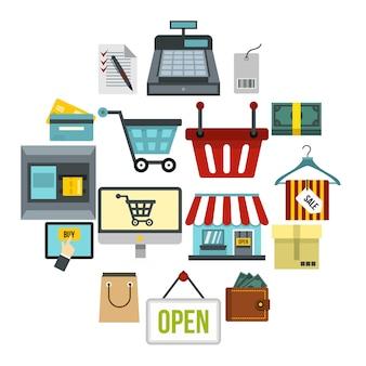 ショッピングのアイコンセット、フラットスタイル