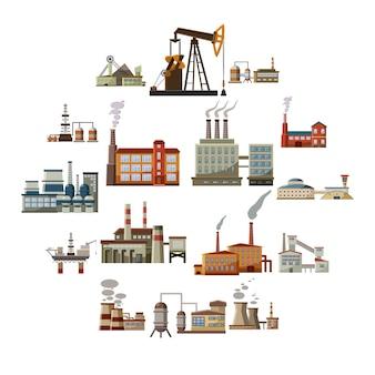 Набор иконок фабрики, мультяшный стиль