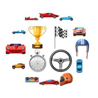 Набор иконок гонки, мультяшном стиле