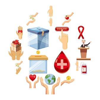 Набор иконок благотворительность, мультяшном стиле