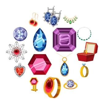 Набор иконок ювелирной коллекции, мультяшном стиле