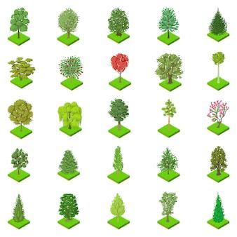 種類の木のアイコンセット