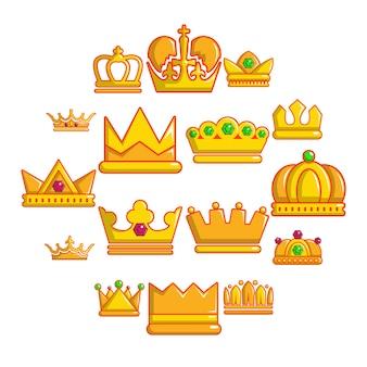 Корона золотой значок набор, мультяшном стиле