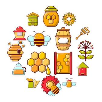 養蜂場の蜂蜜アイコンセット、漫画のスタイル