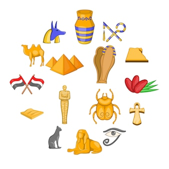 エジプト旅行のアイコンセット、漫画のスタイル