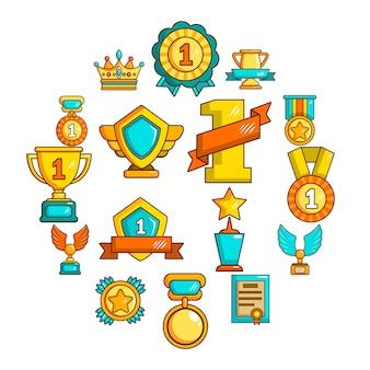 賞メダルカップアイコンセット、シンプルなスタイル
