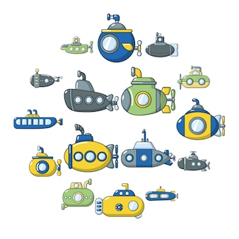 潜水艦のアイコンセット、漫画のスタイル