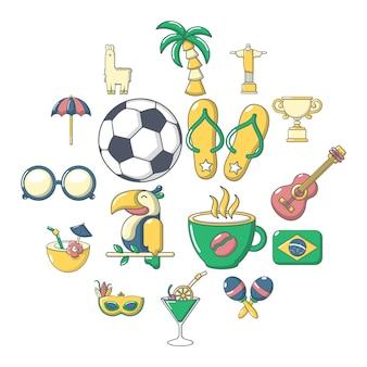 ブラジル旅行のアイコンセット、漫画のスタイル