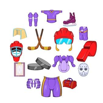 Набор иконок хоккей, мультяшном стиле