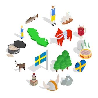 Швеция значок набор, изометрический стиль