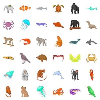 動物アイコンセット、漫画のスタイル