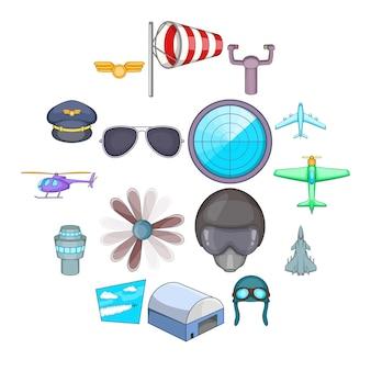 Набор иконок авиации, мультяшном стиле