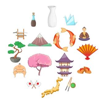 Набор иконок японии, мультяшном стиле