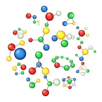 分子のアイコンセット、漫画のスタイル
