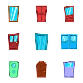 Набор иконок дверей, мультяшном стиле