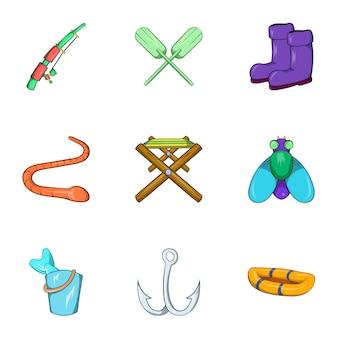 Набор иконок для рыбалки, мультяшном стиле