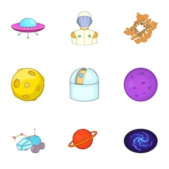 Космические иконки, мультяшном стиле