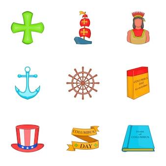 Набор иконок день колумба, мультяшном стиле