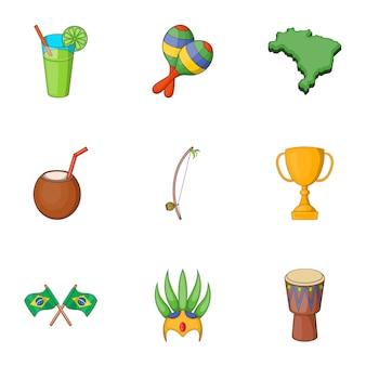 Набор символов бразилии иконок, мультяшном стиле