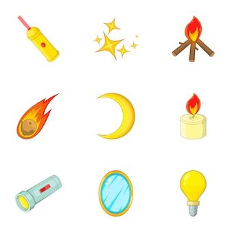 Набор источников света иконок, мультяшном стиле