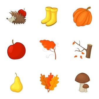 秋のアイコンセット、漫画のスタイル