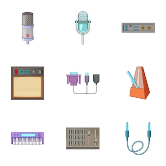 サウンドスタジオ機器のアイコンセット、漫画のスタイル