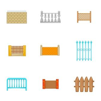 建築フェンスのアイコンを設定、漫画のスタイル