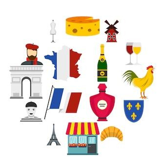 フランス旅行フラットアイコンセット