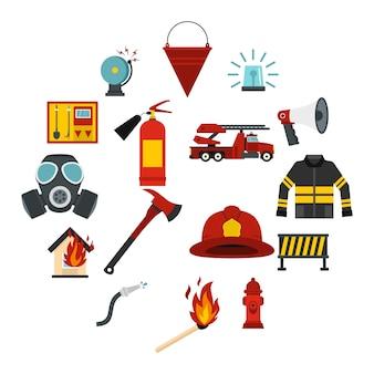 Инструменты пожарного набор плоских иконок