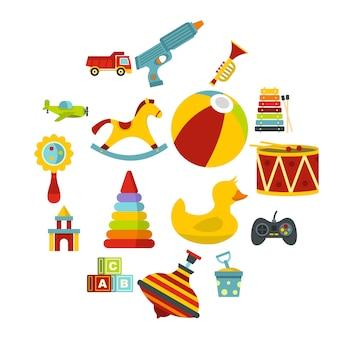 Набор иконок различных детских игрушек в плоском стиле