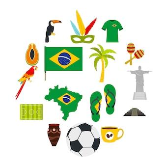 Набор иконок символы путешествия бразилии в плоском стиле