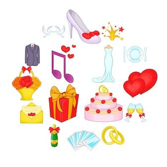 Набор свадебных иконок в мультяшном стиле