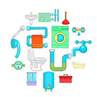 バスルームのアイコンセット、漫画のスタイル