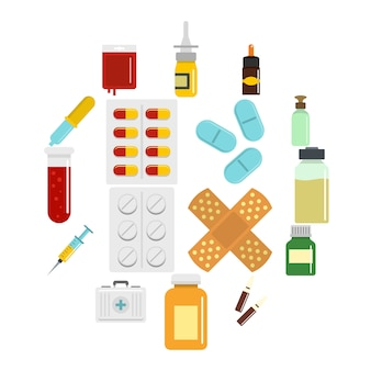 フラットスタイルでさまざまな薬のアイコンを設定