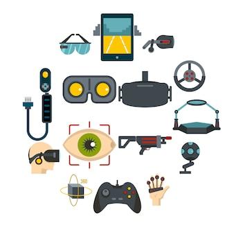 Набор иконок виртуальной реальности в плоский