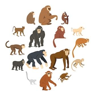 Набор иконок типов обезьян в плоском стиле
